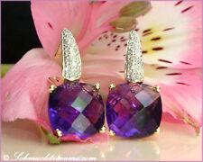 KLASSISCH ELEGANT: Amethyst Ohrstecker mit Diamanten, 7,61 cts., GG-585, 1.080€