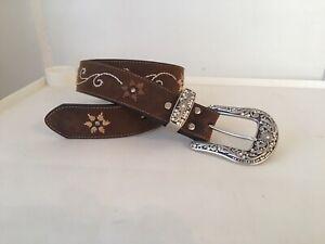 Nocona Women's Sz S Leather Western Bling Rhinestone Embroidery Cowgirl Belt