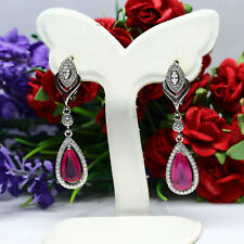 NATURAL 6 X 12 mm. PEAR CUT PINKISH RED RUBY & WHITE CZ EARRIGNS 925 SILVER