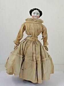 "Antique German 17 1/2"" Black Hair China Head c.1860 Original Clothes"