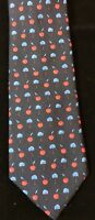 Mens's Silk Brooks Brothers Makers Novelty Tie Cherries +Blue Trees A-34