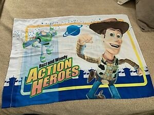 """(1) TOY STORY Buzz & Woody Action Hero 2 sided 20""""x30"""" Pillow case WorldShip BIN"""