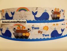 """Grosgrain Ribbon Noah & The Ark Two By Two Whales Animals Bible Story Flood 7/8"""""""