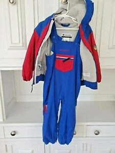 Set Columbia Snow Ski Bibs & Jacket, Fleece Lined, Blue Size 3T, Easy Bathroom