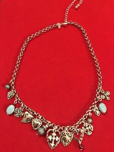 """Premier Designs PD Silver Necklace w/ Turquoise Beads, Heart & Cross Charms 16"""""""