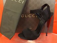 NIB GUCCI LIBERTY BLACK SUEDE MIRROR HEEL PLATFORM SANDALS 37.5 7.5  #347558
