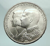 1964 GREECE Marriage Constantine and Anne-Marie Silver 30 Drachmai Coin i80451