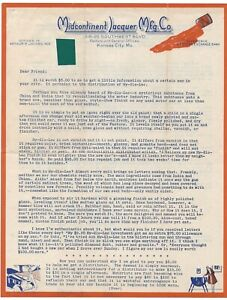 1930's Letterhead - Midcontinent Lacquer Mfg. Co. w/ Paint Chip, Kansas City, MO