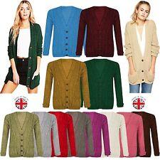 Ladies DAISY Chunky Grandad Button Boyfriend Cardigan Jumper Knitted Top UK 8-26