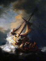 REMBRANDT CHRIST IN STORM ON LAKE OF GALILEE OLD ART PAINTING PRINT 12x16 inch 3