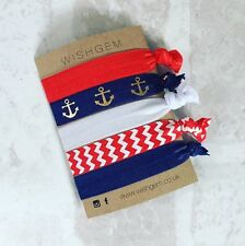 Nautical Print Wristbands / Festival Bands / Hairbands Pack Of 5- Chevron Anchor