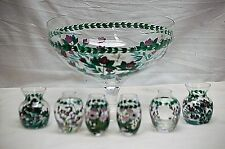 Vintage Punch Bowl w Six Glass Vases Dragonflies & Purple Flowers Hand Painted