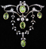 925 Sterling Silver Antique Look Rose Cut Natural Diamond Peridot Pin Brooch