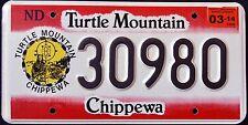 "NORTH DAKOTA "" TURTLE MOUNTAIN CHIPPEWA NATION TRIBE "" ND Indian License Plate"