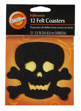 Halloween Skull & Crossbones Re-usable Felt Coasters 12 ct from Wilton #1002