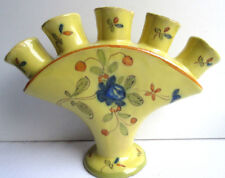 Vase terre cuite, Bouquetière sur pied, M. Tolosan Montpellier jaune fleur bleue