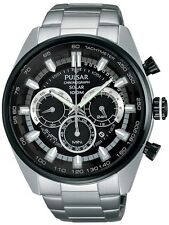 NEW ! Pulsar Men's Solar Chronograph Stainless Steel Bracelet Watch 45mm PX5033