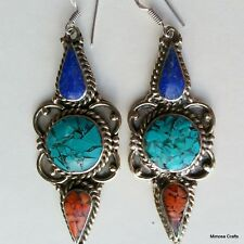 Nepalese Handmade Antique Style Turquoise Coral Lapis Metal Drop Dangle Ear Ring