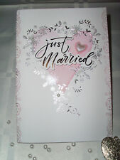 Glückwunschkarte Hochzeit Elegant Weiß- Rosa- Silber Herz Modern 3D Prägedruck