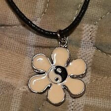 "VINTAGE FLOWER / YING YANG Pendant Charm / 26"" Adjustable Rope Necklace"