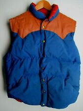 1970's vintage Squire Goose Down Vest puffer Canada Trail Leather Yoke Blue sz L