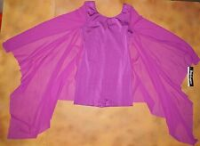 NWT BODY WRAPPERS Dance Boy Cut Leotard Mesh Sleeves Purple Ladies Medium 6110