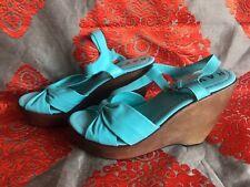 Ravel Turquoise Wooden Wedge Heels Size 5