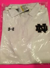 Nwt Womens Notre Dame Under Armour Heatgear Performance Polo White 1259047