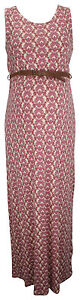 Ex Store Maternity Tile Print Belted Maxi Dress Pink