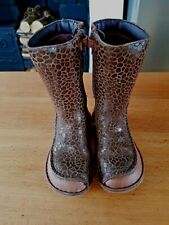 Clarks Girls Tan Leather Mid-Calf Animal Print Boots size UK 7 F
