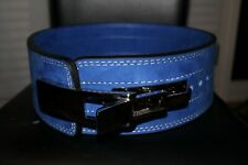10mm Powerlifting Lever BLUE Belt Genuine Leather Powerbelt MEDIUM Weightlift