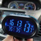12V Digital Car Voltage Monitor Battery Alarm Clock LCD Temperature Thermometer