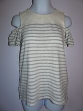 NWT GIRLS JUSTICE CROCHET COLD SHOULDER TOP SIZE 8 IVORY GREY HEATHER STRIPE