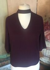 Ladies Blouse /Top Size 10 Purple Atmosphere Fancy Neckline Button Neck