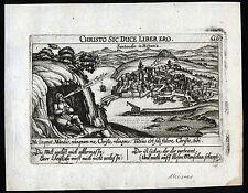SANTANDER Ansicht mit Sinnspruch aus Meisners Schätzkästlein um 1630 Original