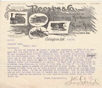 U.S. REEVES & CO, Inc. Ind. Manfs.Threshing Machinery Etc 1902 Invoice Ref 44197