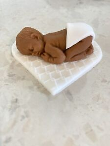 Edible Sleeping Baby With Nappy. Baby Shower Cake Topper Naked Baby Icing Mixed