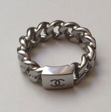 CHANEL CHAIN RING! Logo CC ANTIQUE SILVER! SS 2015 Size 54/7
