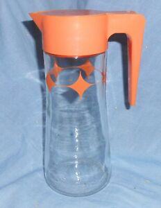 """Vintage Anchor Hocking Orange Lid Tang Juice Pitcher Atomic Starburst 9"""""""