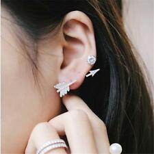 Arrow Stud Crystal Earring Cuff NEW Fashion Accent Hinge Silver Plated