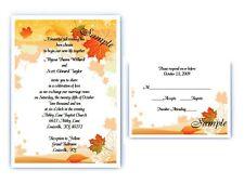 100 Personalized Custom Fall Autumn Leaves Bridal Wedding Invitations Set