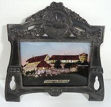 VTG RARE Jugendstil Art Nouveau Pewter Picture Frame Reverse Painted Tubingen