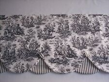 BLK/WHITE WAVERLY RUSTIC TOILE LAYERD SCALLOPED COVERED BUTTONS Valance Curtains