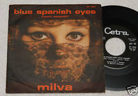 """Milva: 7 """" -blau Spanisch Augen-Original Italy 1966 EX"""