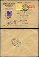 SPAIN 1959 PHILATELIC BUREAU ENVELOPE BARCELONA AIRMAIL to MEXICO REGISTERED