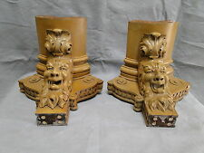 Fantastic Pair of Carved Northwind Type Open Mouth Faces on Corner Brackets