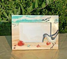 Vintage SEAGULL Sand Piper Scallop Seashell Starfish Conch Photo Frame 4x6 ❤️j8