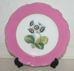 Beautiful Blue-flower decorative plate with pink border. 23 cm. Excellent Cond.