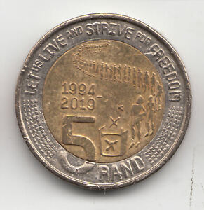 SOUTH AFRICA 5 RAND 2019 STRIVE + FREEDOM         112S         BY COINMOUNTAIN