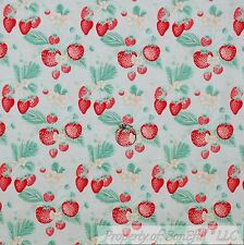 BonEful Fabric FQ Cotton Quilt Blue Pink Red Strawberry Green Leaf White Flower